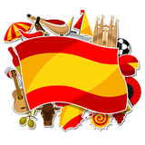 Spain background design. Spanish traditional sticker symbols and objects Royalty Free Stock Image