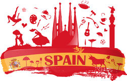 Spain background with flag and symbol Royalty Free Stock Images
