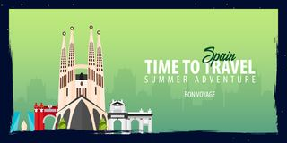 Spain banner. Time to Travel. Journey, trip and vacation. Vector flat illustration. Spain banner. Time to Travel. Journey, trip and vacation. Vector flat Royalty Free Stock Images