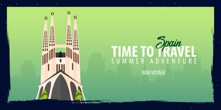Spain banner. Time to Travel. Journey, trip and vacation. Vector flat illustration. Spain banner. Time to Travel. Journey, trip and vacation. Vector flat Stock Photo