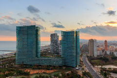 Spain. Barcelona, the capital of the province of Catalunya. View of the city from the top at sunset. Stock Photos