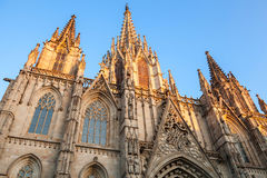 Spain,  Barcelona Cathedral. Facade fragment Royalty Free Stock Image