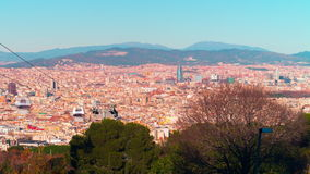 Spain barcelona day light montjuic park panorama view 4k time lapse stock footage