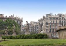 Spain. Barcelona. Fountain in placa de Catalunya Royalty Free Stock Photography