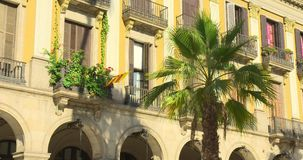 BARCELONA, SPAIN, MAY 22, 2017: Barcelona Plaza Real, famous square with fountain and palms. SPAIN BARCELONA JULY 2017: Barcelona Plaza Real, famous square with stock video footage