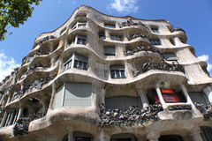 SPAIN, BARCELONA - JULY 20, 2011: Casa Mila, better known as La Pedrera, designed by Antoni Gaudi. Stock Photos