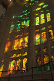 Spain, Barcelona - July 2012: Sagrada Familia, the reflections of the windows on the walls Royalty Free Stock Images