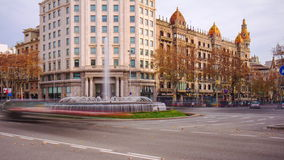 Spain barcelona main street fountain day light traffic 4k time lapse stock footage
