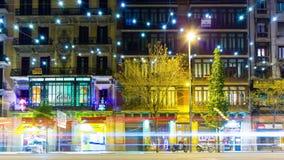 Spain barcelona night light magic decoration traffic street block 4k time lapse stock video footage