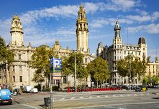 Cityscape view on Barcelona Central Post Office on Moll de la Fusta