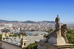 spain Barcelona spain för liggande för barcelona stadsdag solig övre sikt Royaltyfri Fotografi