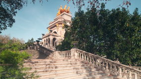 Spain barcelona sun light fountain stairs in park de la ciutadella 4k time lapse stock footage