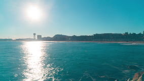 Spain barcelona sunny beach pier view panorama 4k time lapse stock video