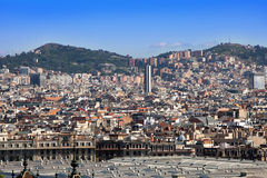 Spain. Barcelona. The top view on a city.Cityscape in a sunny day Stock Photography