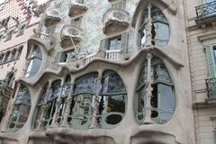 Spain 2015 Barselona Casa Batlló. Casa Batlló 2015 A remodel of a previously built house, it was redesigned in 1904 by Gaudí and has been refurbished several Royalty Free Stock Photos