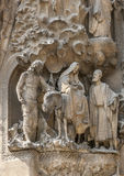 Spain, Barselona, Sagrada Familia. Sculptural group of biblical themes in the facade of the cathedral stock photography