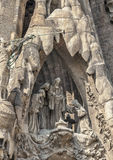 Spain, Barselona, Sagrada Familia. Sculptural group of biblical themes in the facade of the cathedral stock photo