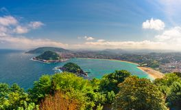 Spain, Basque country, San Sebastian or Donostia with beach La Concha. In a beautiful summer day stock image
