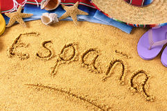 Spain beach writing Royalty Free Stock Photo