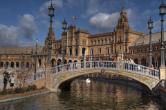 Spain beautiful square in the city of Seville at dusk Stock Images