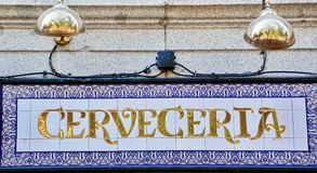 Spain beer shop. Beer shop cerveceria in Spain Royalty Free Stock Image