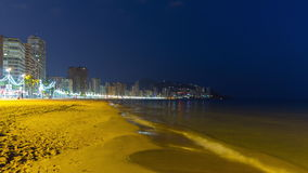 Spain benidorm tourist city night light panoramic view 4k time lapse stock footage