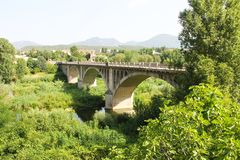 Spain, Besalu - June 28, 2012 the bridge leading to the medieval city of Catalonia - national, historical and cultural monument. Spain, Besalu - June 28, 2012 stock photo