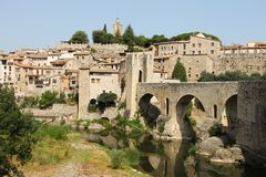 Spain, Besalu - June 28, 2012: the medieval city of Catalonia - national, historical and cultural monument of the country. An interesting open-air museum stock photography