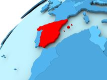 Spain on blue globe. Spain in red on blue model of political globe. 3D illustration Royalty Free Stock Images