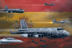 Spain air forces bombing strike concept. Spain army air planes drop bombs on flag background. 3d Illustration. Spain bomb air strike concept. Modern Spain war Royalty Free Stock Photography