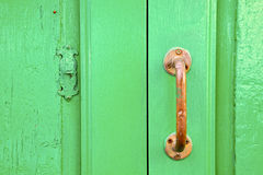 spain   brass knocker  abstract door wood in the green Stock Images