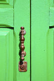 Spain   brass knocker lanzarote abstract door wood Royalty Free Stock Images