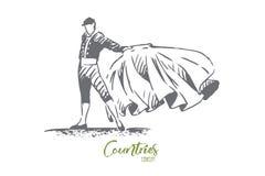 Spain, bullfight, matador, travel, country concept. Hand drawn isolated vector.