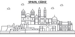 Spain, Cadiz architecture line skyline illustration. Linear vector cityscape with famous landmarks, city sights, design. Icons. Editable strokes Royalty Free Stock Images