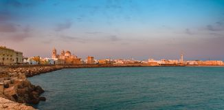 Spain, Cadiz panorama at sunset, the beautiful old city of Andalusia with a view of the cathedral stock photos