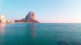 Spain calpe day light tourist famous mountain coast view 4k time lapse stock video