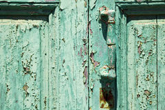 spain canarias brass r in a green closed wood  door abstract Royalty Free Stock Image