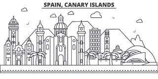 Spain, Canary Islands architecture line skyline illustration. Linear vector cityscape with famous landmarks, city sights. Design icons. Editable strokes Stock Photography