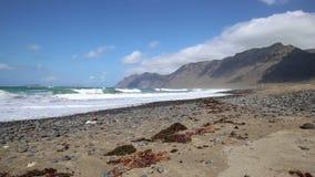 Spain Canary Islands Lanzarote Famara Beach - popular surfing beach stock video footage