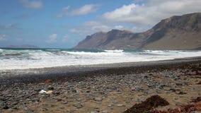 Spain Canary Islands Lanzarote Famara Beach - popular surfing beach stock video
