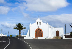 Spain Canary Islands Lanzarote pretty whitewashed chapel Royalty Free Stock Photo