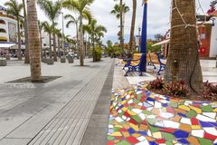 Spain, Canary Islands, Tenerife, Las Americas - May 17, 2018: Street in Playa de las Americas on Tenerife , Canary Islands in Spai royalty free stock photography