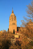 Spain, Castilla y Leon, Salamanca. Historical centre. Spain, Castilla y Leon, Salamanca. The cathedral viewed from the Roman bridge over the Tormes River in the royalty free stock photography