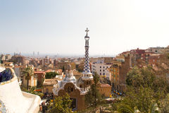 Spain, Catalonia, Barcelona, View from Parc Guell towards city Stock Images