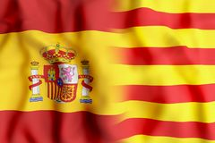 Spain and Catalonia flags. 3d rendering of a mixed of a Spain and Catalonia flags Stock Images