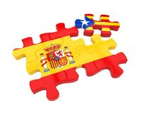 Spain and Catalonia Flags Puzzle Isolated. On white background. 3D render Royalty Free Stock Photography