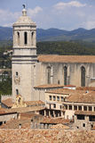 Spain. Catalonia. Girona. Sta. Maria Cathedral tower and old hou Stock Photography