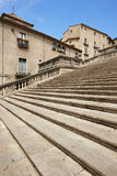 Spain. Catalonia. Girona. Stone stairway to cathedral and old ho Stock Photos