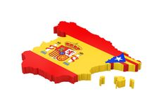 Spain and Catalonia Map Isolated. On white background. 3D render Stock Image