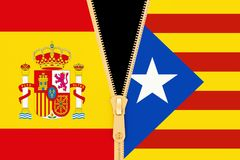 Spain and Catalonia, referendum and independence concept. 3D ren. Spain and Catalonia, referendum and independence concept. 3D Royalty Free Stock Photos